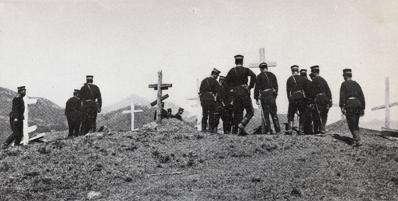 """Japanese Visiting Russian Graves at the Feng-Wang-Cheng""  page 99, A Photographic Record of the Russo-Japanese War, Edited by James H. Hare 1905, PF Collier & Son, New York"