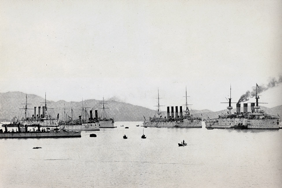 """Russian Warships in the Harbor at Port Arthur Just Before the Outbreak of War"" page 136, A Photographic Record of the Russo-Japanese War, Edited by James H. Hare 1905, PF Collier & Son, New York"