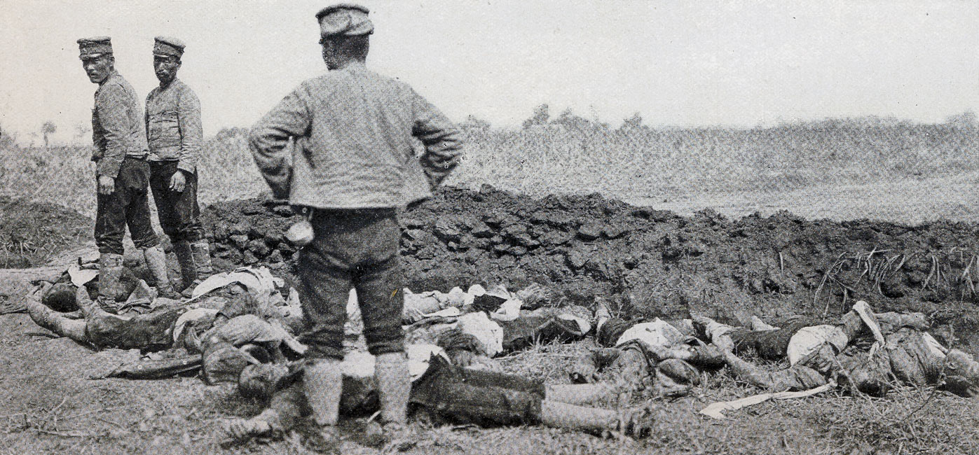 """Burying Japanese and Russian Dead Together Outside Liao-Yang""  page 180, A Photographic Record of the Russo-Japanese War, Edited by James H. Hare 1905, PF Collier & Son, New York"