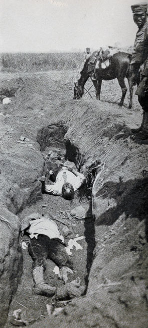 """Dead Japanese in the Trenches on September Fourth"" page 180, A Photographic Record of the Russo-Japanese War, Edited by James H. Hare 1905, PF Collier & Son, New York"