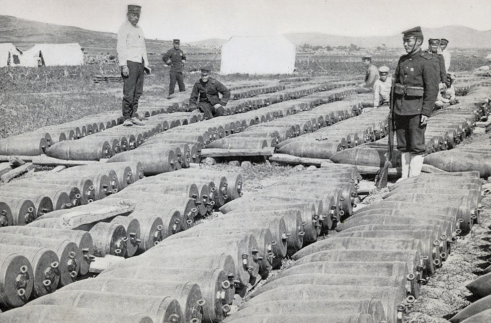 """Five-hundred-pound Shells Waiting to be Hurled into Port Arthur""  page 221, A Photographic Record of the Russo-Japanese War, Edited by James H. Hare 1905, PF Collier & Son, New York"