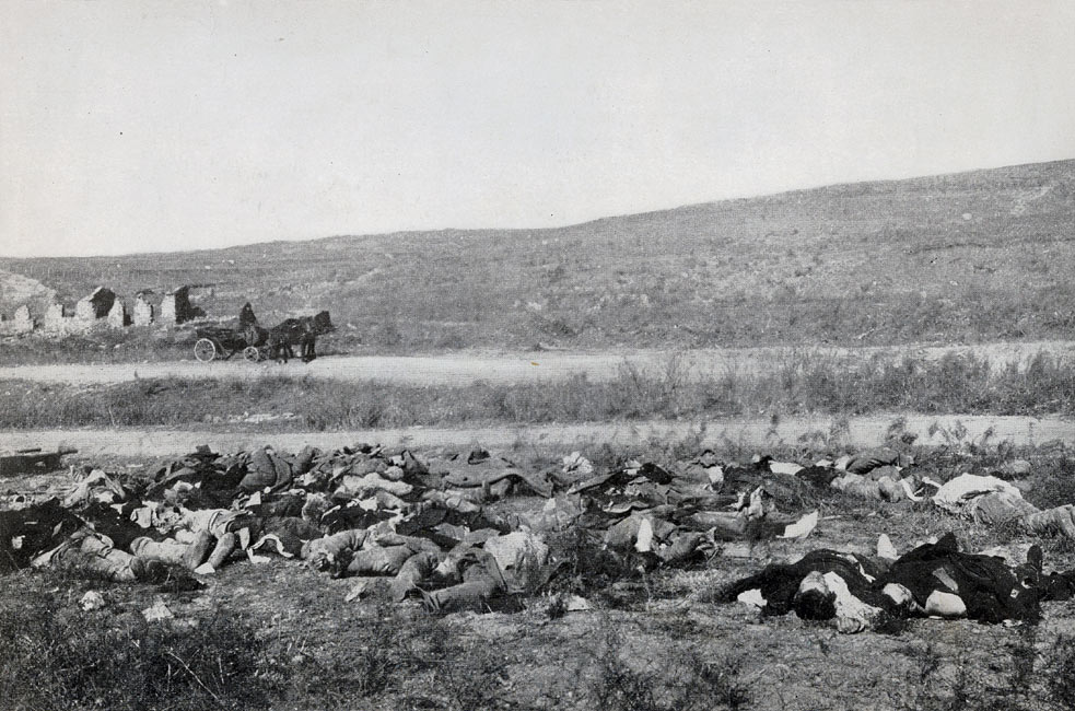 """Russian Dead Awaiting Burial in the Outskirts of Port Arthur""  page 234, A Photographic Record of the Russo-Japanese War, Edited by James H. Hare 1905, PF Collier & Son, New York"