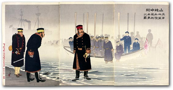 """Illustration of Lieutenant-General Yamaji Leading the Japanese Second Army during its Landing on the Jinzhou (Liaodong) Peninsula"" by Kobayashi Kiyochika, November 1894 [2000_013] Sharf Collection, Museum of Fine Arts, Boston"