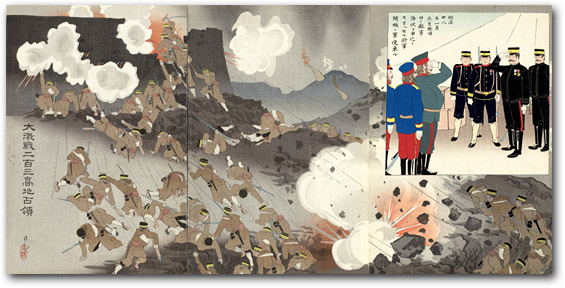 """In the Battle of Nanshan Our Troops Took Advantage of a Violent Thunderstorm and Charged the Enemy Fortress"" by Kobayashi Kiyochika, 1904[2000_077] Sharf Collection, Museum of Fine Arts, Boston"