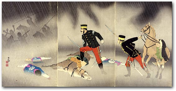 """Picture of the Hard Fight of the Scout Cavalry-Captain Asakawa"" by Kobayashi Kiyochika, January 1895 [2000_180] Sharf Collection, Museum of Fine Arts, Boston"