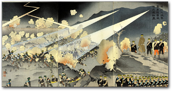 """In the Battle of Nanshan Our Troops Took Advantage of a Violent Thunderstorm and Charged the Enemy Fortress"" by Kobayashi Kiyochika, 1904 [2000_239] Sharf Collection, Museum of Fine Arts, Boston"