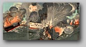 """Our Forces' Great Victory at Battle of Yellow Sea - Second Illustration"" by Kobayashi Kiyochika, October 1894 [2000_380_16] Sharf Collection, Museum of Fine Arts, Boston"