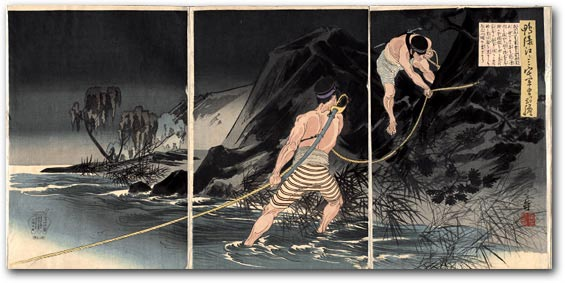 """Sergeant Miyake's Courage at the Yalu River"" by Watanabe Nobukazu, 1895 [2000_380_30] Sharf Collection, Museum of Fine Arts, Boston"