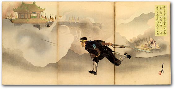 """Picture of the Second Army's Assault on Jinzhoucheng: Engineer Superior Private Onoguchi Tokuji, Defying Death, Places Explosives and Blasts the Gate of the Enemy Fort"" by Ogata Gekkō, 1895 [2000_407] Sharf Collection, Museum of Fine Arts, Boston"