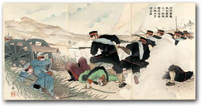 """In the Battle of the Sha River, a Company of Our Forces Drives a Strong Enemy Force to the Left Bank of the Taizi River"" by Yoshikuni, 1904-1905 [2000_472] Sharf Collection, Museum of Fine Arts, Boston"