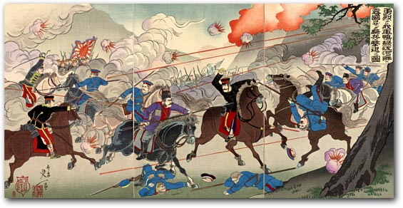"""Picture of Our Valorous Military Repulsing the Russian Cossack Cavalry on the Bank of the Yalu River"" by Watanabe Nobukazu, March 1904 [2000_544] Sharf Collection, Museum of Fine Arts, Boston"