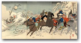 """Major Sakakibara Fights Fiercely to the South of Ximucheng"" by Adachi Ginkō, January 1895 [21_1549] Museum of Fine Arts, Boston"